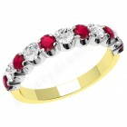 JER344YW - 18ct yellow and white gold 11 stone ruby and diamond ring