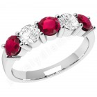 JER350W - 18ct white gold 5 stone ruby and diamond ring