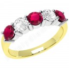 JER350YW - 18ct yellow and white gold 5 stone ruby and diamond ring