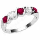 JER367/9W-9ct white gold 5 stone ruby and diamond ring