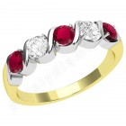 JER367/9YW-9ct yellow and white gold 5 stone ruby and diamond ring