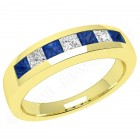 JES033Y - 18ct yellow gold sapphire and diamond channel set 7 stone ring