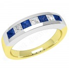 JES033YW - 18ct yellow and white gold sapphire and diamond channel set 7 stone ring