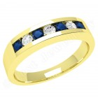 JES036/9Y - 9ct yellow gold 7 stone sapphire and diamond ring