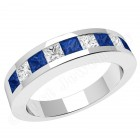 JES043W - 18ct white gold sapphire and diamond channel set 9 stone ring