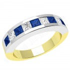 JES043YW - 18ct yellow and white gold sapphire and diamond channel set 9 stone ring