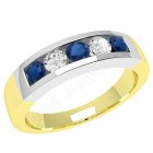 JES047YW - 18ct yellow and white gold channel set sapphire and diamond 5 stone ring