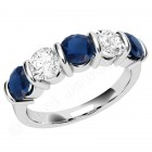 JES048W - 18ct white gold sapphire and diamond bar set 5 stone ring