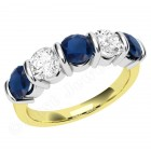 JES048YW - 18ct yellow and white gold sapphire and diamond bar set 5 stone ring