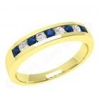 JES053Y - 18ct yellow gold 9 stone sapphire and diamond ring