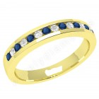 JEWS061Y - palladium 2.9mm eternity ring with 8 round sapphires and 7 round brilliant cut diamonds in a channel setting