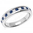 JEWS084/9W - 9ct white gold 3.75mm eternity ring with 9 round sapphires and 8 round brilliant cut diamonds in a claw setting