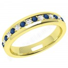 JEWS084Y - 18ct yellow gold 4.4mm eternity ring with 9 round sapphires and 8 round brilliant cut diamonds in a claw setting