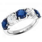 JES110W - 18ct white claw set sapphire and diamond 5 stone ring