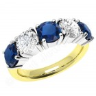 JES110YW - 18ct yellow and white gold sapphire and diamond claw set 5 stone ring