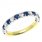 JES166YW - 18ct yellow and white gold sapphire and diamond claw set 15 stone ring