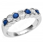 JES184/9W - 9ct white gold 7 stone sapphire and diamond ring
