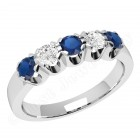 JES241W - 18ct white gold ring with 3 round sapphires and 2 round brilliant diamonds