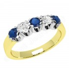 JES241YW - 18ct yellow and white gold ring with 3 round sapphires and 2 round brilliant diamonds