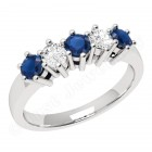 JES248/9W-9ct white gold 5 stone sapphire and diamond ring