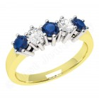 JES248/9YW-9ct yellow and white gold 5 stone sapphire and diamond ring