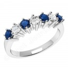 JES253/9W - 9ct white gold 7 stone sapphire and diamond ring