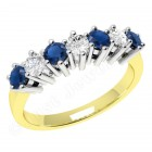 JES253/9YW - 9ct yellow and white gold 7 stone sapphire and diamond ring