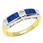 JES260YW - 18ct yellow and white gold sapphire and diamond rub over set 7 stone ring