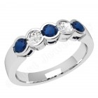 JES278/9W - 9ct white gold 5 stone sapphire and diamond ring