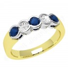 JES278/9YW - 9ct yellow and white gold 5 stone sapphire and diamond ring