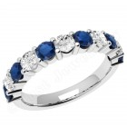 JES302/9W - 9ct white gold 11 stone sapphire and diamond ring