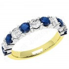 JES302/9YW - 9ct yellow and white gold 11 stone sapphire and diamond ring