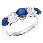 JES303W - 18ct white gold 5 stone sapphire and diamond ring