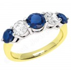 JES303YW - 18ct yellow and white gold  5 stone sapphire and diamond ring