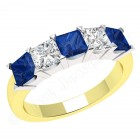 JES310YW - 18ct yellow and white gold sapphire and diamond claw set 5 stone ring