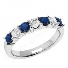 JES336/9W - 9ct white gold 7 stone sapphire and diamond ring