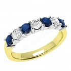 JES336YW - 18ct yellow and white gold 7 stone sapphire and diamond ring