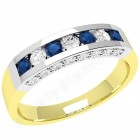 JES342YW - 18ct yellow and white gold sapphire and diamond ring in a channel and claw setting