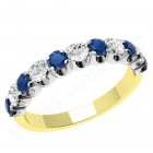 JES344YW - 18ct yellow and white gold 11 stone sapphire and diamond ring