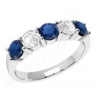 JES350W - 18ct white gold 5 stone sapphire and diamond ring