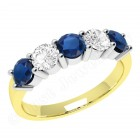 JES350YW - 18ct yellow and white gold 5 stone sapphire and diamond ring