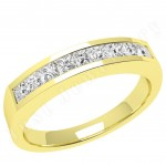 JE043Y - 18ct yellow gold ring with 9 channel-set princess cut diamonds