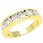 JE053Y - 18ct yellow gold ring with 9 channel-set round diamonds