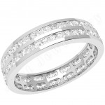JEW098W - 18ct white gold 4.0mm full eternity/wedding ring with 2 rows of round brilliant cut diamonds going all the way around.