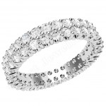 JEW134W - 18ct white gold 3.75mm wide full eternity/wedding with 2 rows of claw set round brilliant cut diamonds going all the way around.