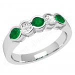 JEM278W - 18ct white gold 5 stone emerald and diamond ring