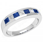 JES033W - 18ct white gold sapphire and diamond channel set 7 stone ring