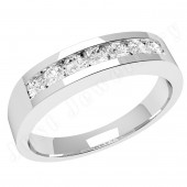 JE036U - Palladium ring with 7 channel-set round diamonds