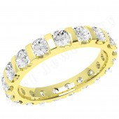 JE340Y - 18ct yellow gold full eternity/wedding ring with round brilliant cut diamonds in a bar-setting