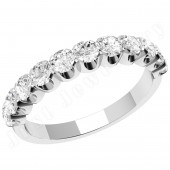 JE344U - Palladium diamond eternity ring with eleven round brilliant cut diamonds in a claw setting